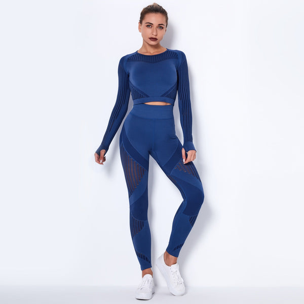 Women Seamless Gym Sets High Waist Gym Mesh Leggings Shirts Suit Long Sleeve Fitness Workout Sports Running Thin Sport Sets