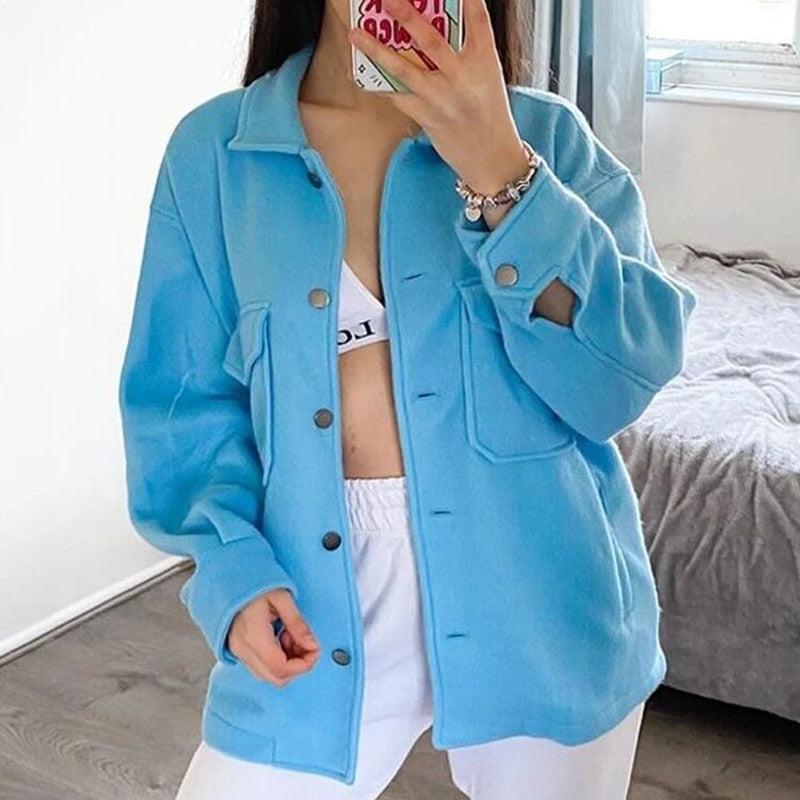 Women Single Breasted Turn-down Collar Wool Coat Casual Long Sleeve Button Pocket Outwear Female Solid Loose Streetwear Jacket
