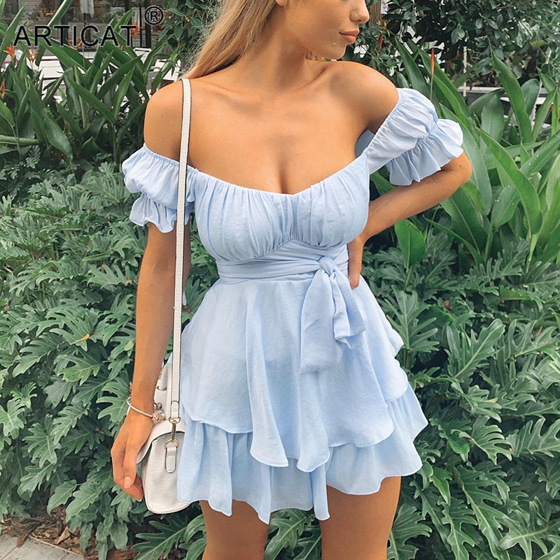 Articat Off-Shoulder Sashes Autumn Dress For Women Short Sleeve Ruched Casual Vintage Solid Ladies Streetwear Backless Vestidos