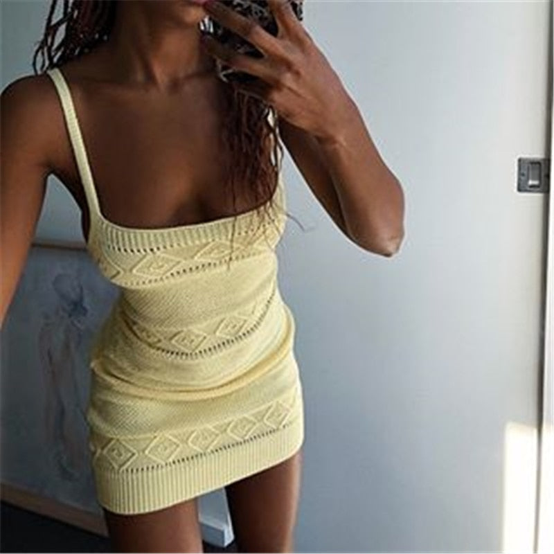 Tobinoone Knitted Sexy Bodycon Dress Women Spaghetti Strap Nightclub Party Dresses Summer Hollow Out Streetwear Sweater Dress