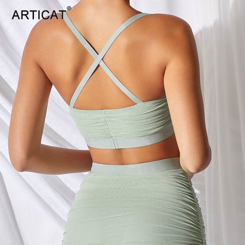 Articat Mesh Ruched Two Pieces Set Dress Women Cross Strap Backless Crop Tops Bodycon Mini Club Party Dresses Summer Clothes