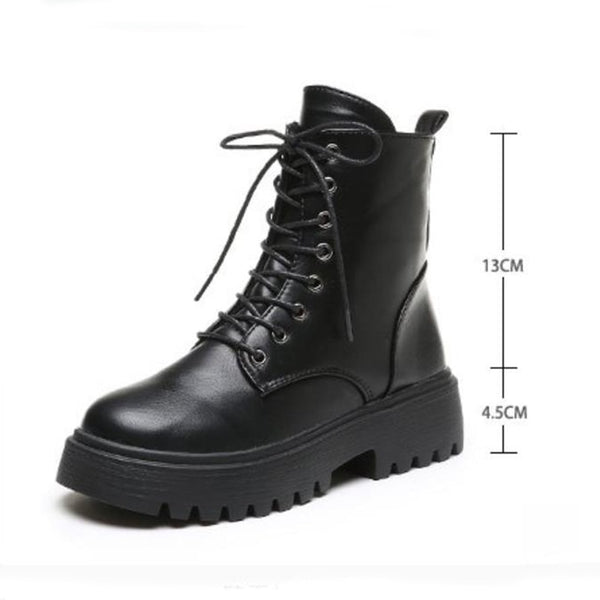 Taoffen Woman Ankle Boots Flat Heel Shoes Women Lace Up Winter Autumn Shoes Daily Short Boots Woman Footwear Size 35-40
