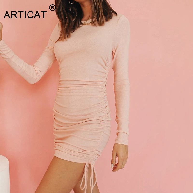 Articat Sexy Cotton Ribbed Dresses For Women Clothes Autumn Winter Long Sleeve Side Ruched Mini Bodycon Party Dress