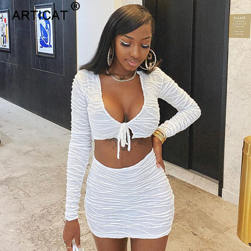 Articat Ruched Drawstring Sexy Two Piece Set Women Casual Long Sleeve V Neck Crop Top Autumn Female Skinny Party Bandage Clothes