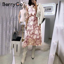BerryGo Vintage floral print boho dress women Casual long sleeve spring party dress High waist work wear office ladies dress