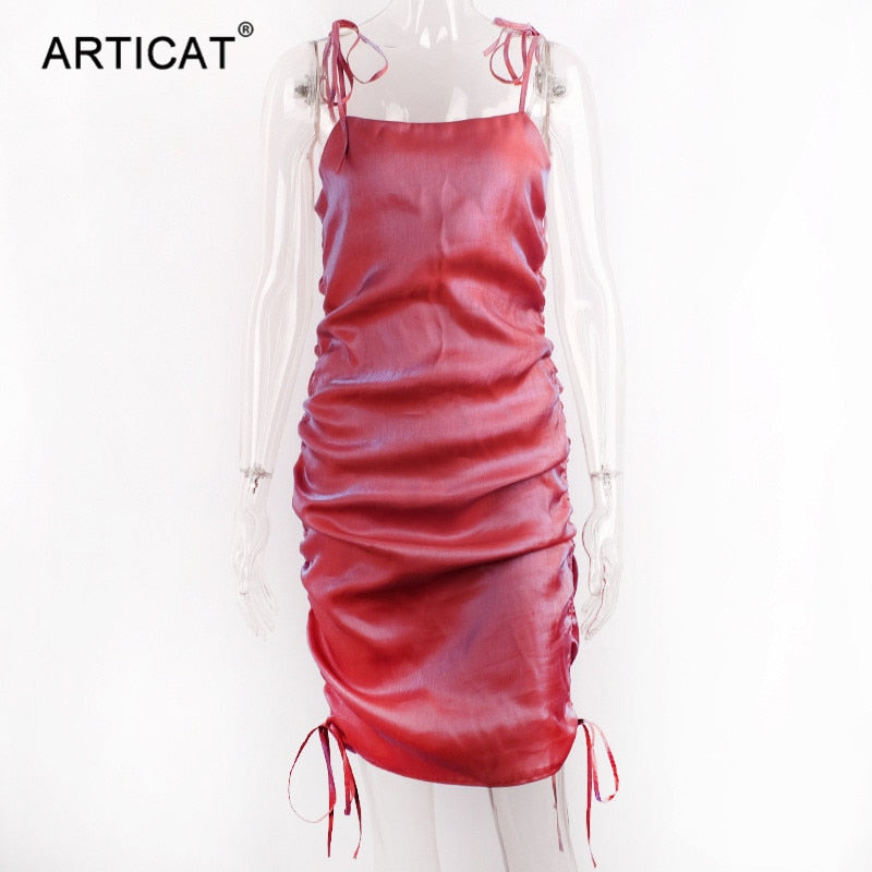 Articat Spaghetti strap Ruched Sexy Dress Women Square Collar Adjustable Drawstring Bodycon Dress 2020 Fashion Streetwear Dress