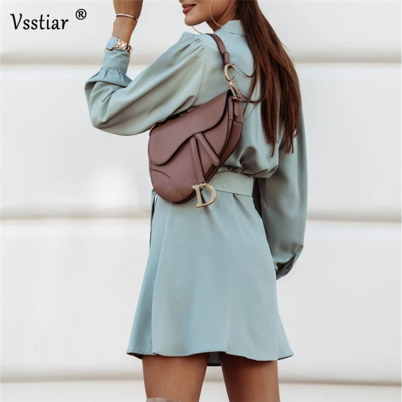 New Fashion Long Sleeve Dress Women Sexy V Neck Solid Autumn Winter Slim Dresses Sashes Casual Button Mini Vestidos Streetwear