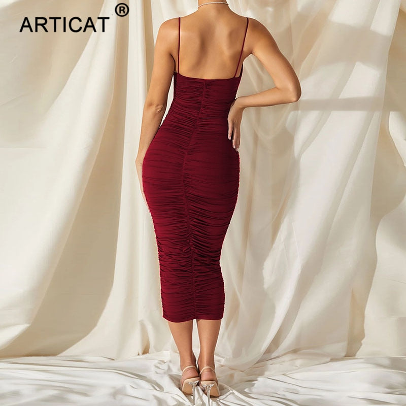 Articat Spaghetti Strap Backless Ruched Dress Solid Sleeveless Long Dresses Ladies Streetwear Elastic Modal Party Vestidos