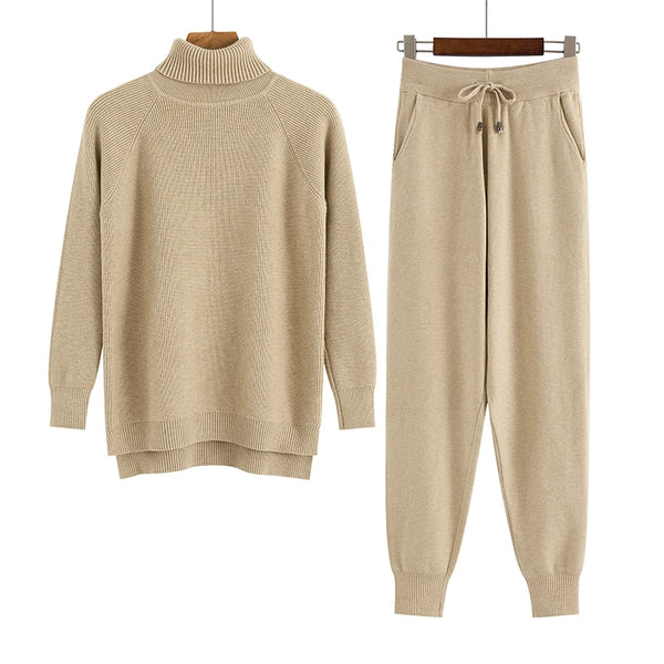 GIGOGOU 2 Pieces Set Women Knitted Tracksuit Turtleneck Sweater + Carrot Jogging Pants Pullover Sweater Set CHIC Knitted Outwear