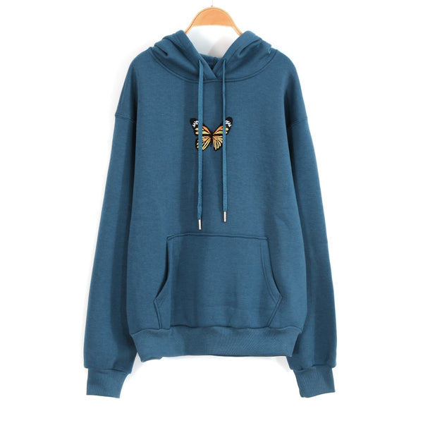 Women Autumn Hoodie Sweatshirts Butterfly Print With Velvet Pullover Clothes Loose Cute Oversized Sweatshirts Young Girls Blue