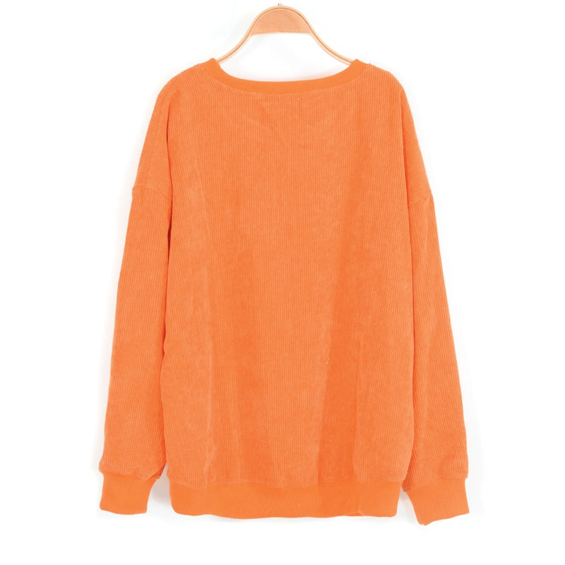 Butterfly Embroidery Corduroy Orange Women Pullovers Sweatshirts Retro Ins Style Female Clothes Hoodie Loose Pullover Ladies