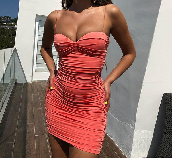 Articat Spaghetti Strap Ruched Sexy Summer Dress Women Off Shoulder Strapless Backless Bodycon Mini Dress Pleated Party Dress
