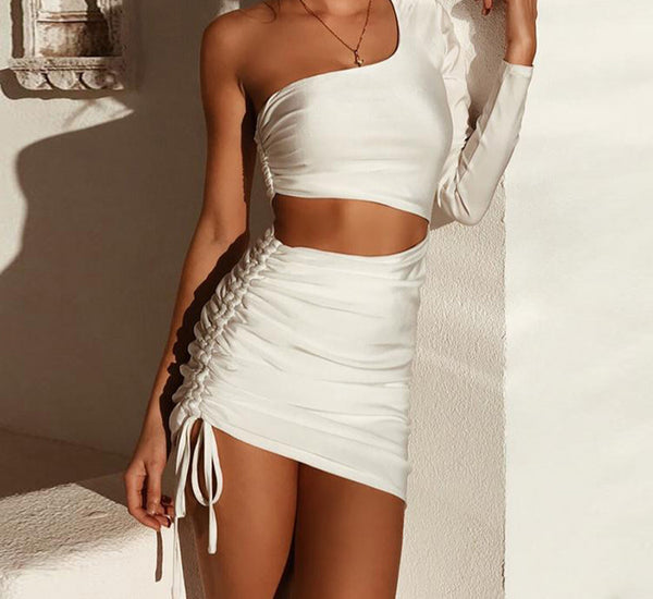 Articat Sexy One Shoulder Women Summer Dress Hollow Out Pleated Bandage Bodycon Mini Dress Casual Party Autumn Dress Vestidos