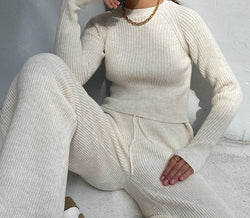 Winter Sweater Two Piece Outfits For Women Warm Knitted Sweater Pullovers + High Waist Loose Trousers Suits Long Sleeve Outfits
