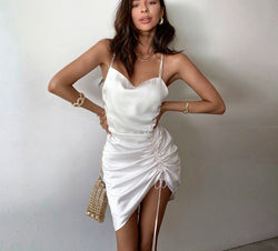 Hugcitar 2020 sleeveless pleated bandage backless sexy mini dress summer women fashion streetwear outfits white solid sundress