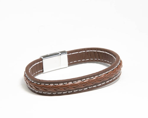 Men's Braid on Leather bracelet with magnetic clasp