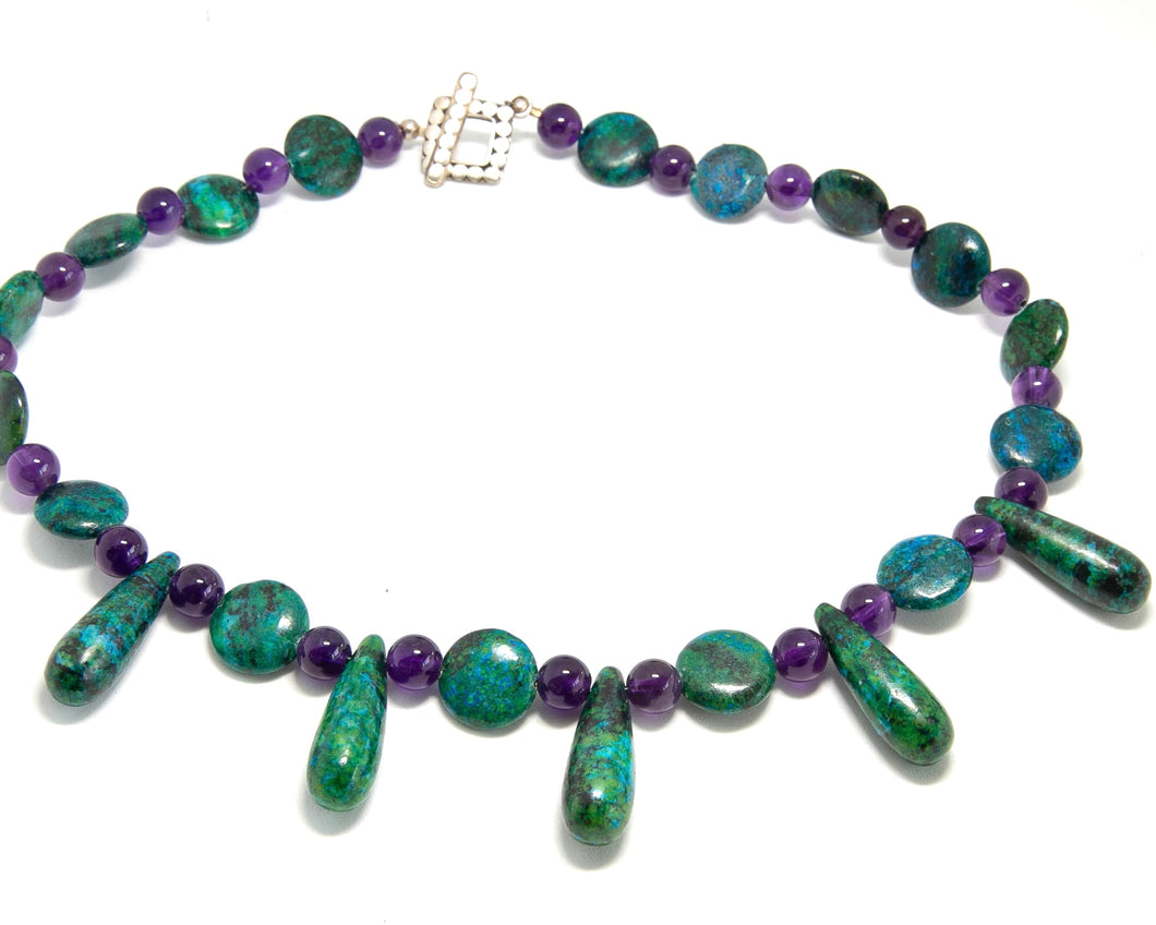 Amethyst and Chrysophase necklace with sterling silver toggle clasp