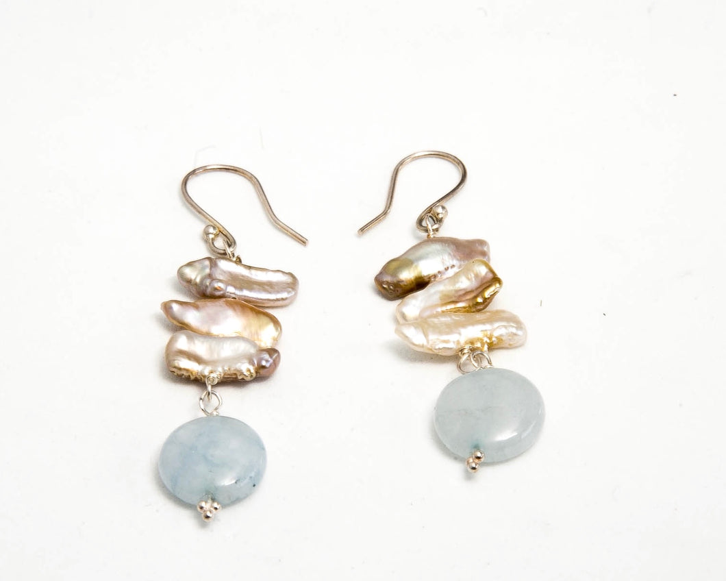 Biwa Pearls with Aquamarine Earrings by Pret-A-Porter Jewels