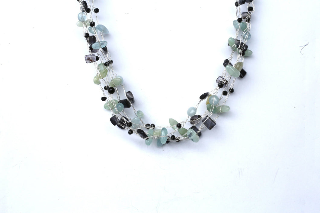 Pale blue and deep purple multi strand necklace