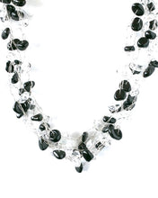 Load image into Gallery viewer, Black and White or Clear Multi Strand Necklace