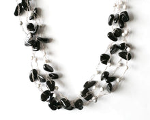Load image into Gallery viewer, Black and white onyx multi strand necklace on fine silver wire. Jewellery that invites compliments from pretaporterjewels.com