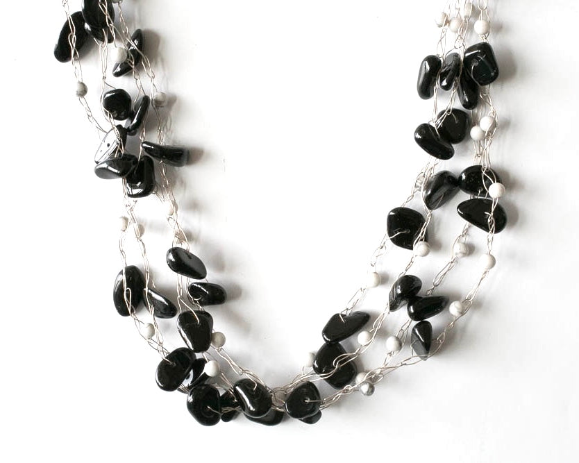 Black and white onyx multi strand necklace on fine silver wire. Jewellery that invites compliments from pretaporterjewels.com