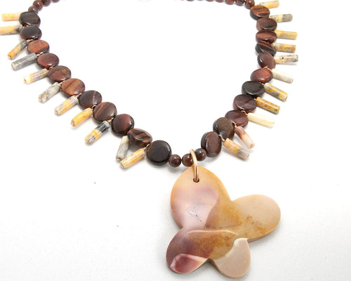 Jasper Butterfly Pendant with Red Tiger Eye and Jasper accent beads