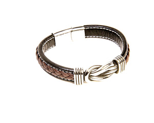 Braided Leather Bracelet with Celtic Knot
