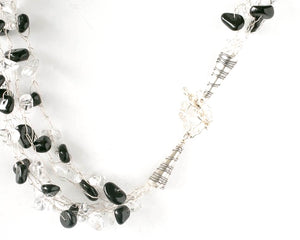 Black and White or Clear Multi Strand Necklace