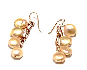 Fresh Water Coin Pearl and Rose Silver Earrings