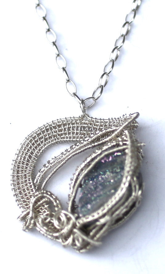 Druzy and Silver Pendant