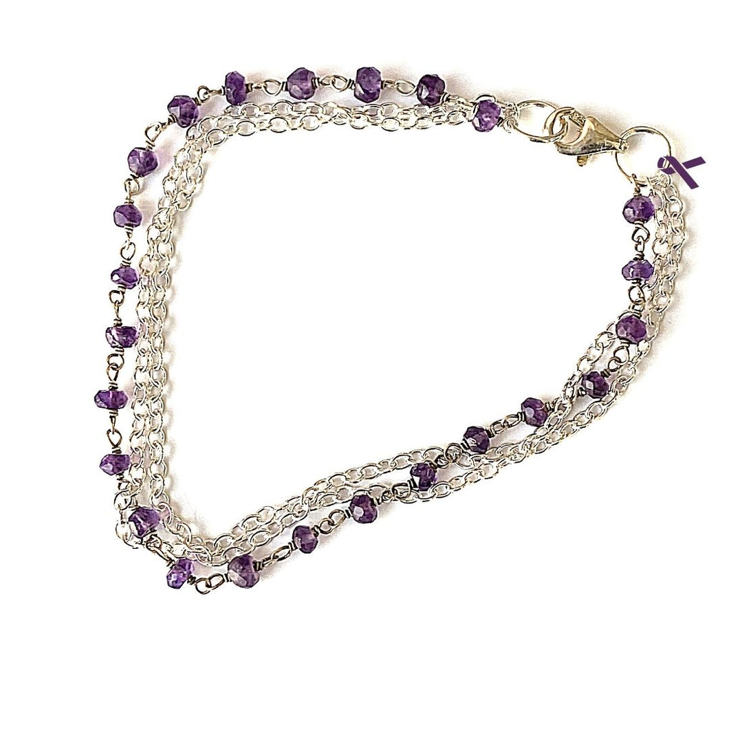 Amethyst and Sterling Silver Chain Bracelet with Purple Ribbon in support of those fleeing Domestic Violence