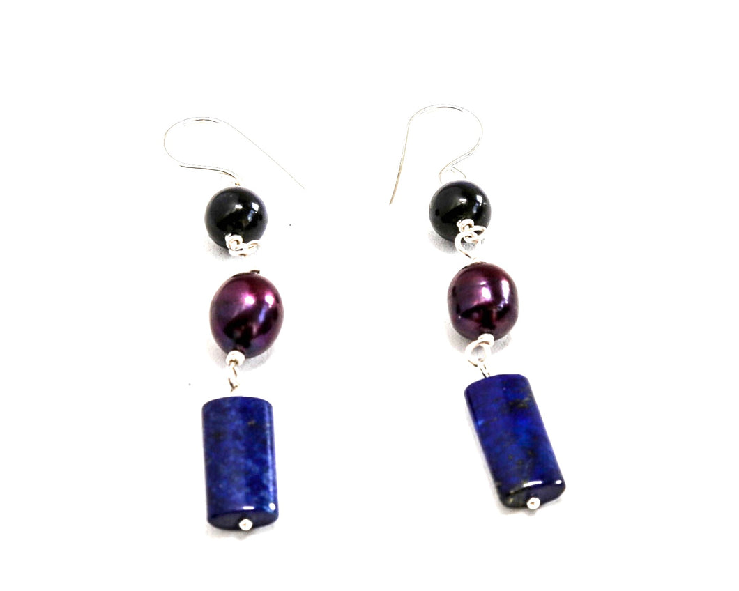 Lapis and Eggplant Fresh Water Pearl Earrings