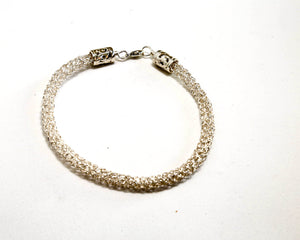 Fine Silver Knitted Bracelet with sterling silver lobster claw