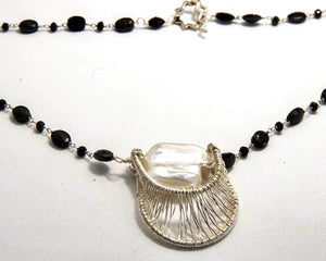 Fresh Water Pearl and Onyx Pendant