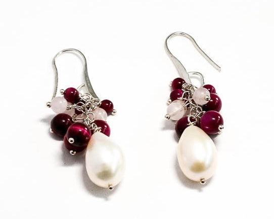 Fresh Water Pearl with Agate and Rose Quartz Earrings