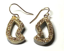 Load image into Gallery viewer, Gold Druzy earrings, less than one inch hang. Very sparkly.