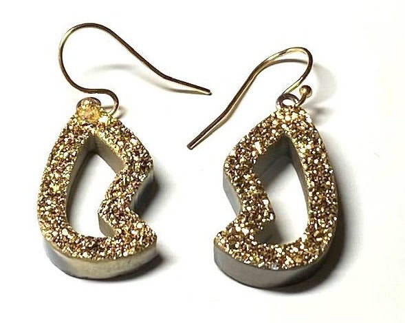 Gold Druzy earrings, less than one inch hang. Very sparkly.
