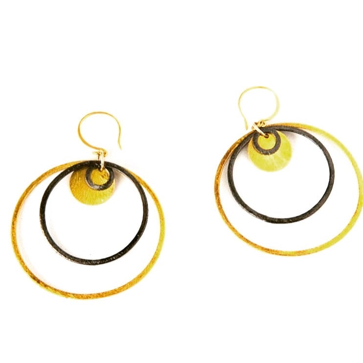 Gold and Black Circle Earrings