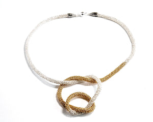 Fine Silver and gold Filled knitted necklace. 21 inches long.