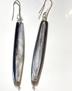 Natural Horn stick shaped earrings on sterling silver hook.
