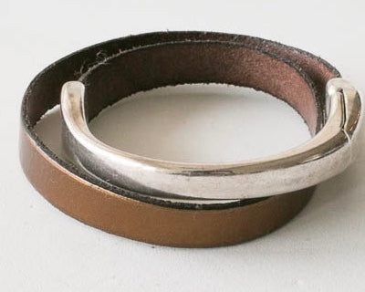 Half pewter bangle and half leather bracelet