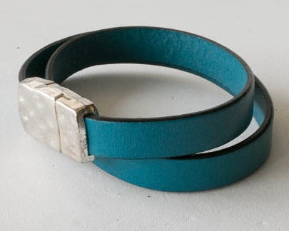 Double wrap around leather bracelet with pewter magnetic clasp