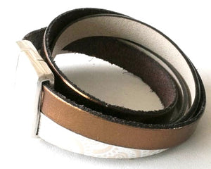 Double wrap leather cuff with pewter magnetic clasp.