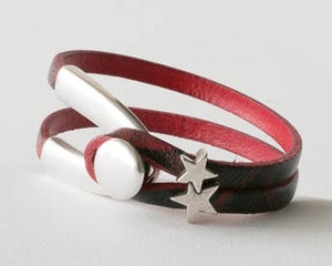 Leather Bracelet with Stars