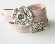 Load image into Gallery viewer, Vegan Cork Bracelet with Flower Medallion and Magnetic Clasp