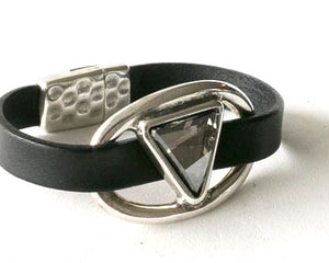 A Touch of Swarovski Crystal Leather Bracelet by Pret-A-Porter Jewels