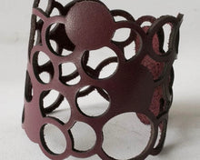 Load image into Gallery viewer, Leather Cuff with Circles