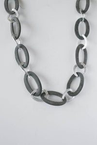 Grey Horn and Silver Necklace