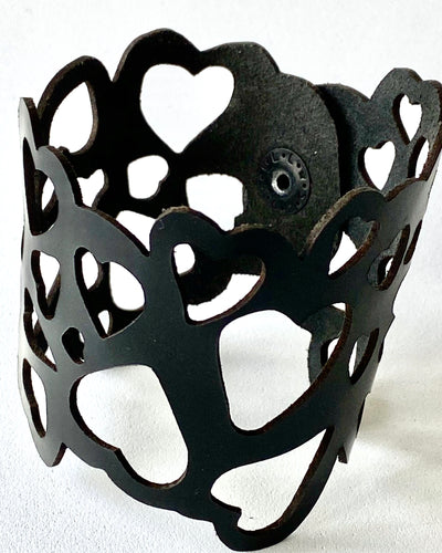 Leather laser cut heart cuff bracelet